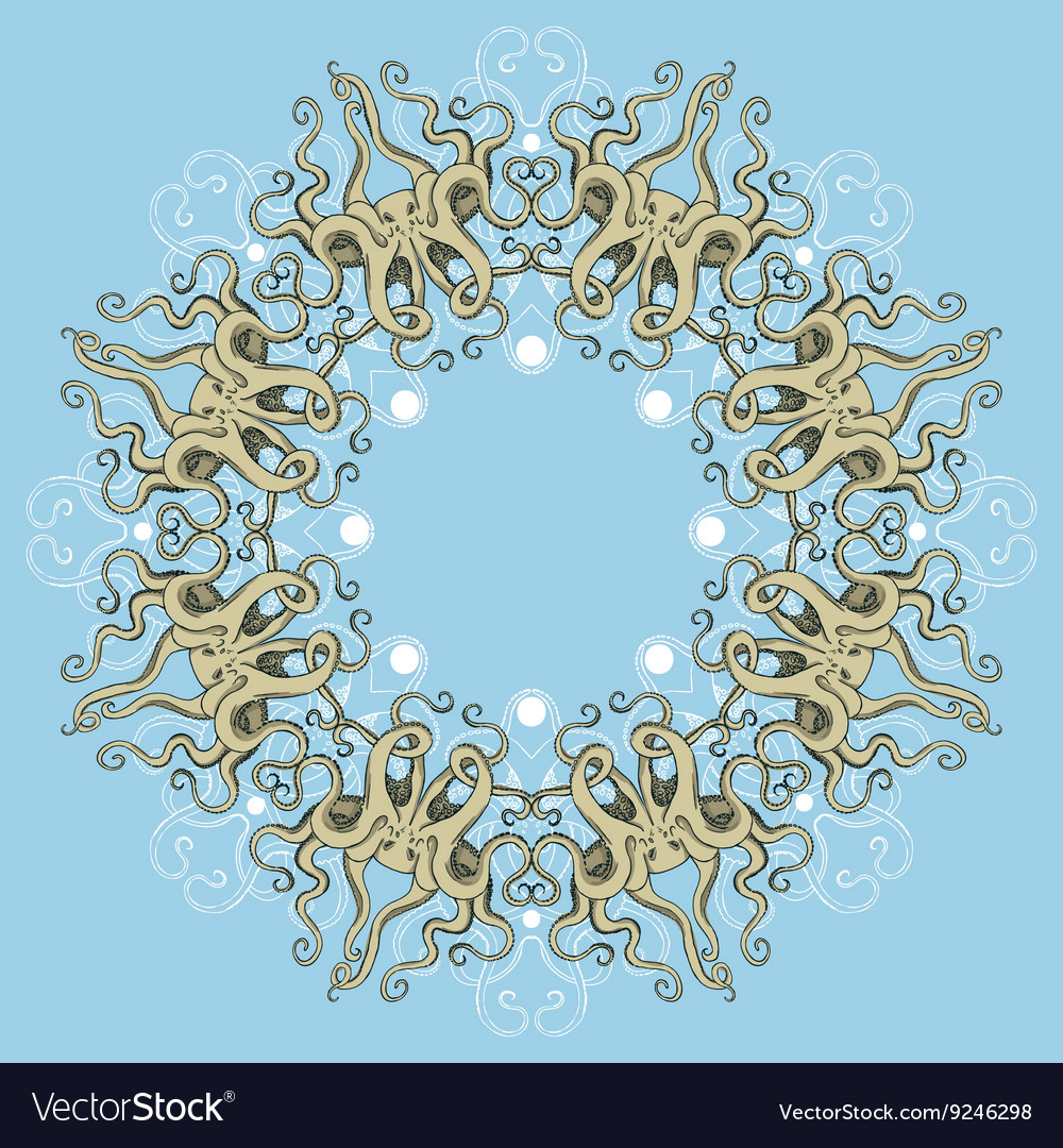 Circular octopus ornament vector