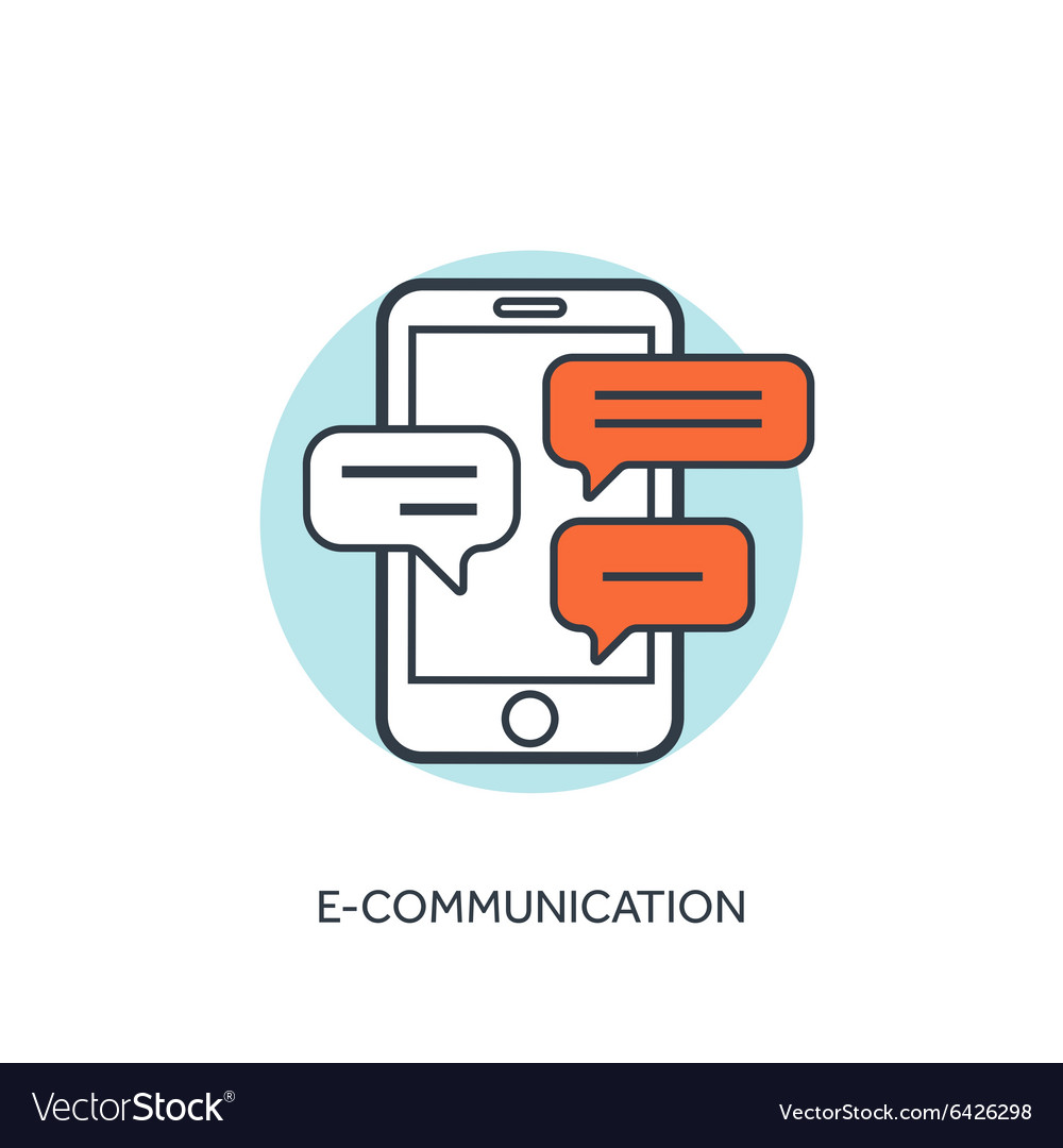 Flat lined smartphone with messages communication vector