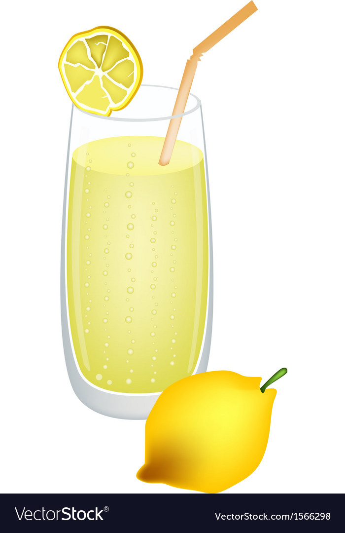 Glass of lemon juice and fresh lemons vector