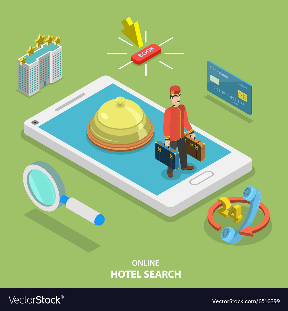 Hotel search online flat isometric concept vector