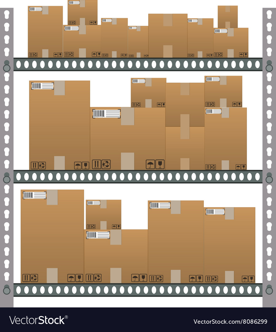 Metallic shelves with cartoon brown boxes vector