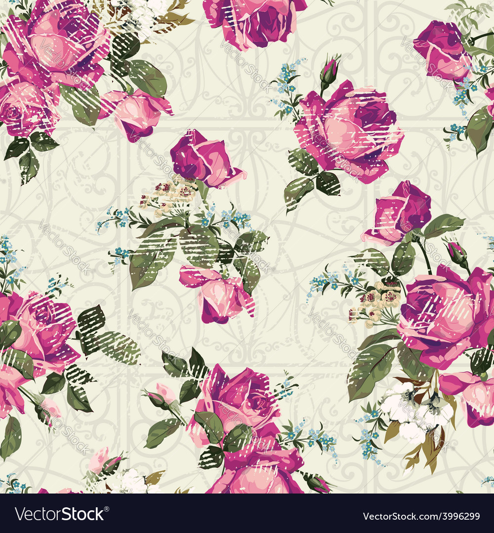 Seamless floral pattern with pink roses with vector
