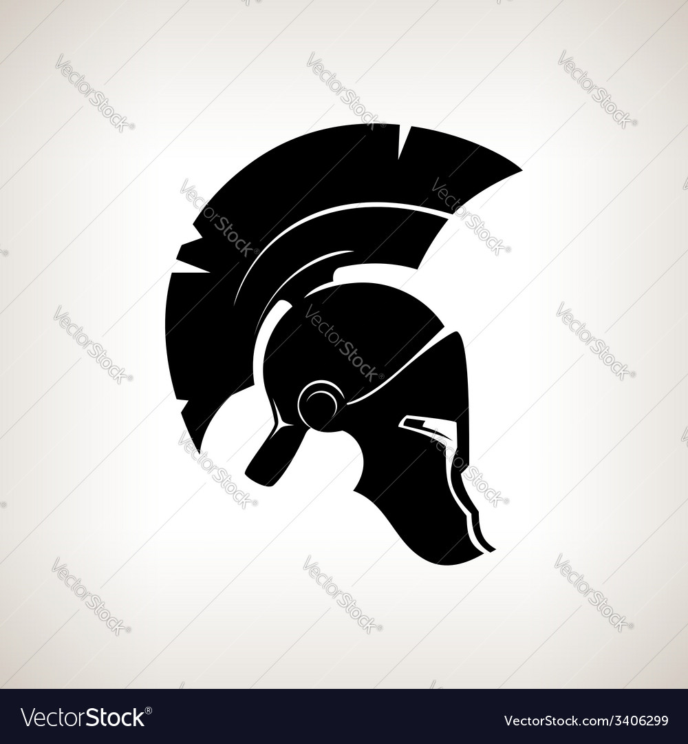 Silhouette helmet on a light background vector