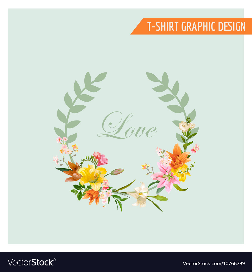 Vintage floral graphic design  summer lily flower vector