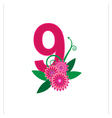 Number nine with floral vector image