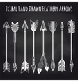 Feathery arrows collection on chalkboard vector image