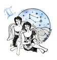Gemini boy zodiac signHoroscope circleWatercolor vector image