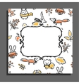 Greeting card template with autumn pattern and vector image