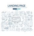 landing page concept with business doodle design vector image