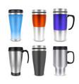 thermo cup travel mug mock-up set vector image