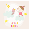 Baby Girl Catching Stars on a Cloud - Baby Shower vector image vector image