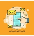 Hand touching smartphone screen with new message vector image