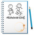 A notebook with two people skateboarding in the vector image