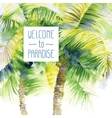Template with watercolor palms vector image