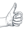 Hand drawn hand with thumb up vector image