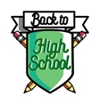 Color vintage back to school emblem vector image