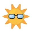 cute sun funny glasses hot vector image