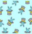 rabbit and hat circus pattern style vector image