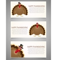 Happy Thanksgiving banner set with turkey vector image vector image