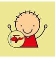 cartoon boy happy plane toy vector image
