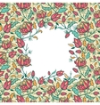 Colorful flowers and leaves frame seamless pattern vector image