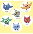 Cartoon owls in different moods vector image vector image