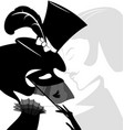 black white head of lady with mask vector image vector image