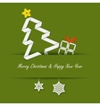 Christmas card with a paper tree on a green vector image