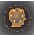 Head in profile filled with chess pieces vector image