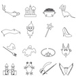 black simple fairy tales outline icons set eps10 vector image