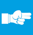 hand showing two fingers icon white vector image