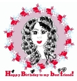 Happy Birthday Card with cute girl vector image