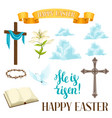 happy easter set of decorative objects religious vector image