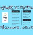 Vegan cafe menu identity hand drawn design vector image