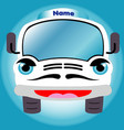 white cartoon smiling truck front view vector image