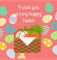 happy easter pink vertical greeting card vector image