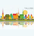 tallinn skyline with color buildings blue sky and vector image