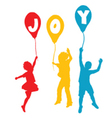 Happy children silhouette vector image vector image