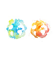 Earth day with hand drawn watercolor planets vector image vector image