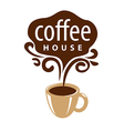 logo cup of coffee and patterns vector image vector image
