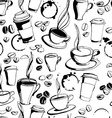 Grungy hand drawn ink coffee to go cups mugs and vector image
