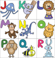 Alphabet with cartoon animals 2 vector image vector image