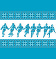 blue ethnic background with traditional dancers vector image