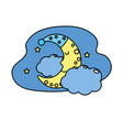 cute moon with sleep hat design and clouds with vector image