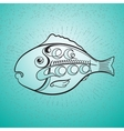 Fish and handwritten word Seafood vector image