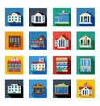 Government Buildings Icons In Colorful Squares vector image