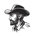 Portrait man in cowboy hat Sketch vector image