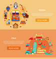 russia italy touristic banners vector image
