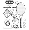 Tennis league labels emblems and design elements vector image
