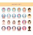 Woman face avatars set vector image